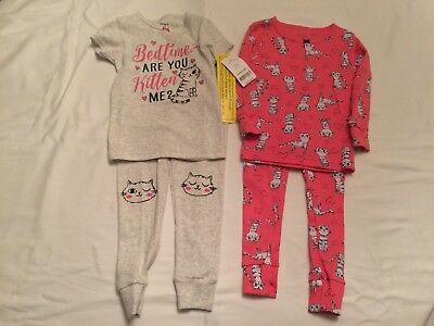"Girls Pajamas 4 pieces Size 18 months by Carter's 100% Cotton ""Bedtime u Kitten"