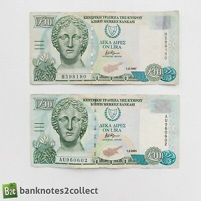 CYPRUS: 2 x 10 Cypriot Pound Banknotes.