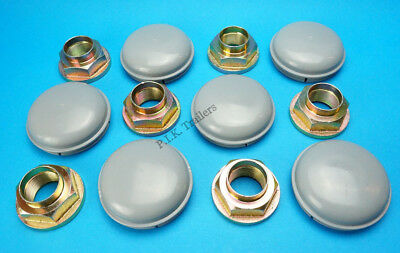 6 x GREY 76mm Wheel Hub Caps & Stake Nuts for Triple Axle IFOR WILLIAMS Trailer