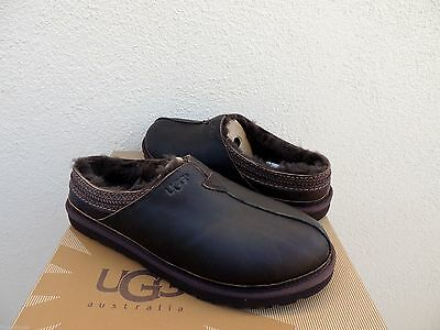 c5d8a69e971 UGG NEUMAN CHINA Tea Leather/ Sheepskin Slippers Shoes, Men Us 8/ Eur 40.5  ~Nib