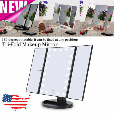 2X3X10X Tri-Fold 22 LED Lighted Touch Screen Tabletop Vanity Makeup Mirror 【US】