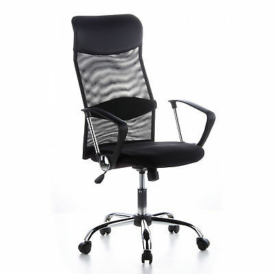 hjh OFFICE Chair ARIA HIGH Mesh PU Leather Chrome Ergonomical Executive Chair