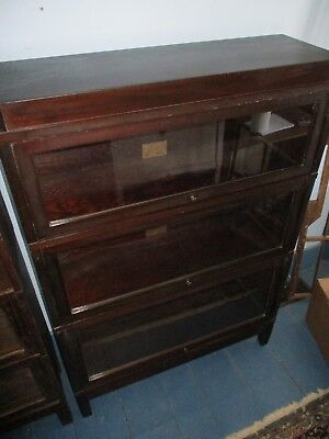 Anitque 3 Section Globe-Wernicke Barrister Bookcase - Original Labels Each Piece