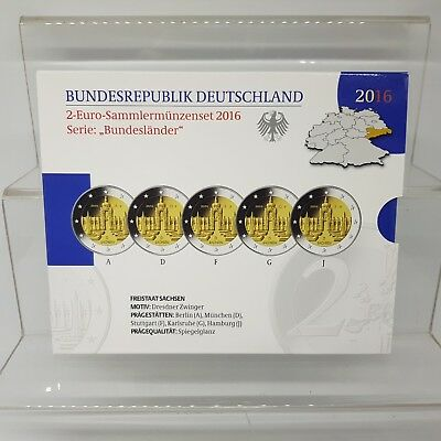 Alemania 5 X 2 Euros 2016 - Sachsen - Proof - En Cartera