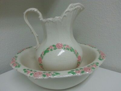 Vintage Antique Wash Basin and Pitcher Floral Large Judy French