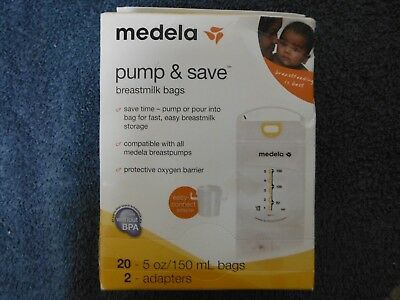 Medela Pump and Save Breastmilk Bags, 20 Count 5 oz Bags and 2 Adapters