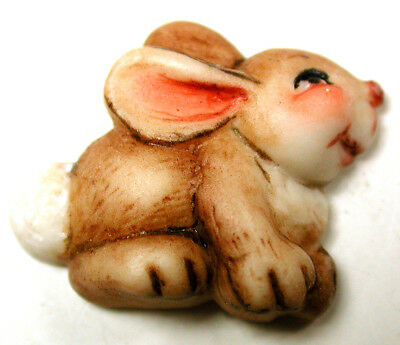 Handcrafted Porcelain Button Realsitic Rabbit Bunny  FREE US SHIPPING 1 inch