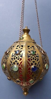 Vintage Pierced Brass & Glass Cabochon Moroccan Hanging Lantern Candle Holder