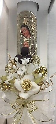 NEW CN64 Gold Foil Virgin Mary Purple Grapes Holy Communion Single Candle