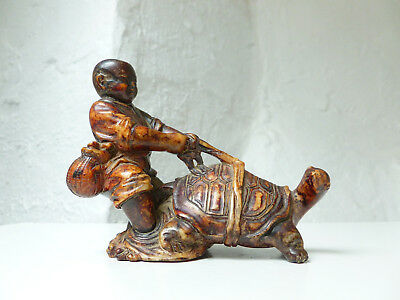 Antique Chinese Early 20thC Republic Period Carved Soapstone Boy & Turtle Figure