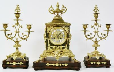 Rare Antique French 8 Day Gothic Style Pierced Bronze Ormolu Mantel Clock Set