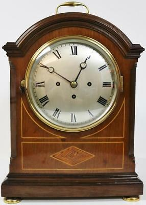 Antique English Walnut Triple Fusee Musical 5 Gong Westminster Bracket Clock