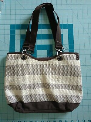 New Thirty One 31 Canvas Crew Mini Tote Purse Bag Brown Stripe NO embroidery