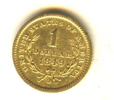 1849 O $1 Gold Type 1 AU In Grade Scarce New Orleans Minted Gold Type Coin
