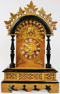 Rare Antique 19thc Carved Black Forest 2 Train Fusee Cuckoo Bracket Clock