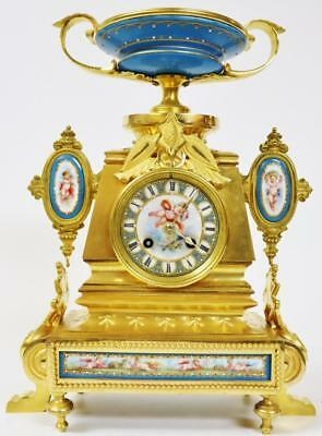 Amazing Antique French 8 Day Bronze Ormolu & Blue Sevres Porcelain Mantle Clock