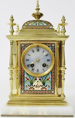 Rare Antique 19thc French 8 Day Bronze, Marble & Champleve Enamel Mantel Clock
