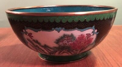 Hand Painted Porcelain & Cloisonne Asian Scenic Bowl- Chinese Japanese