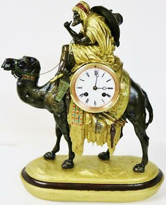 Rare Unusual Antique French Gilt Metal Camel & Arab Rider Figural Mantle Clock