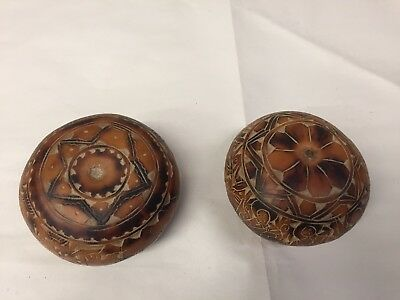 2 Vintage Peruvian Carved Gourd , Seed pods With Hidden Compartment, Folk Ark