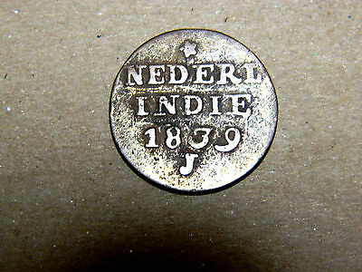 Netherlands East Indies, copper 2 cents, 1839 J. Partly dark patina. KM 291.