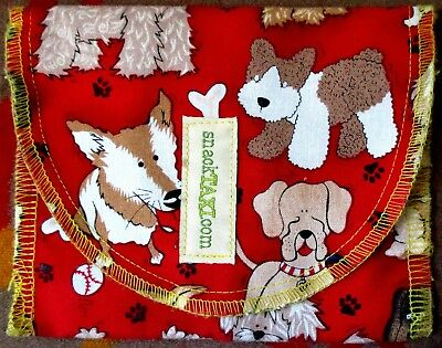 Preowned EUC SNACKTAXI Cloth Pouch With Graphics Of Whimsical Mixed Breeds