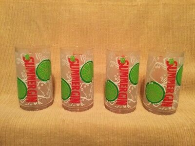 Set of 4 Summer Gin Cocktail/Lounge Liquor Plastic Tumblers