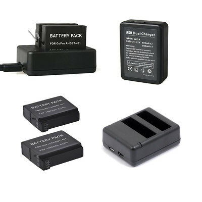 2 /1 Pack Battery /  Dual USB Battery Charger For GoPro Hero 4 Hero4 AHDBT-401