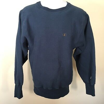 Vtg 80s Champion M Reverse Weave Crewneck Sweatshirt 90/10 Dark Blue Green y