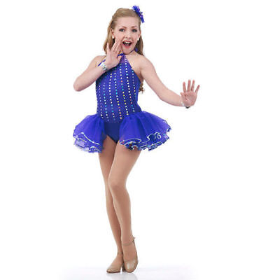 Limelight Dance Tap Costume TURQUOISE Leotard Attached Ruffles Jazz Adult Large
