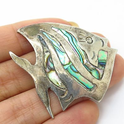 Vtg Mexico 925 Sterling Silver Abalone Shell Inlay Tropical Fish Pin Brooch