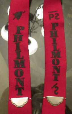 Vintage Philmont Boy Scouts Camp Suspenders, Red And Black, Adjustable