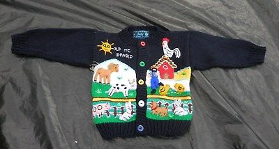 Old Mcdonald Farm FAIRY TALES on PARADE Embellished Knit Cardigan Childs Size 0