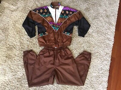 VTG BOLO SPIRIT Track Suit Nylon Wind Jacket Pants Women's Medium