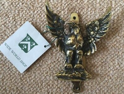 Vintage Detailed Solid Brass SPREAD WINGS EAGLE DOOR KNOCKER England Unused