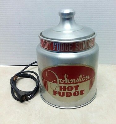 Vintage Johnston Hot Fudge Warmer Soda Fountain Ice Cream Counter Top Display