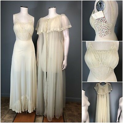Vtg 50s Peignoir Sheer Peek LADY DUFF Floral Lace Sexy Night Gown Robe Lingerie