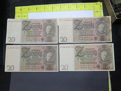 Germany 1929 Issue 20 Reichsmark World Banknote Currency Collection Lot P181