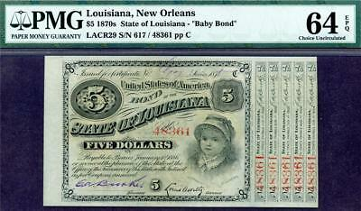 HGR FRIDAY 1870's $5 Baby Bond ((New Orleans)) PMG CHOICE UNC 64EPQ