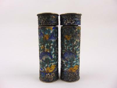 Pair Antique Chinese Silver Fine Enameled Cylindrical Snuff Box, Marked, 19th C