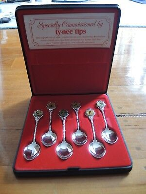6 Vintage Birdlife silverplated spoons limited release by Tynee Tipps tea case