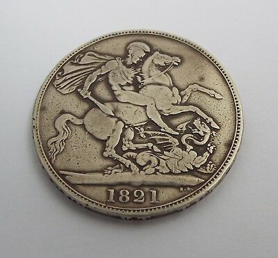 Fine Large English Antique George Iv 1821 Solid Sterling Silver Crown Coin