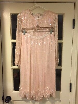 Vintage Avalon Skirt And Blouse Pink Sequined Silk Size Small Amazing