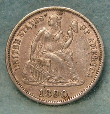 1890 Seated Liberty Silver Dime XF * US Coin *