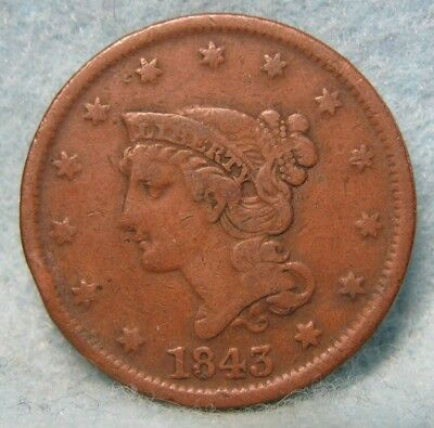 1843 Braided Hair Large Cent VF- Details * US Coin *