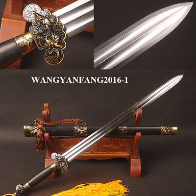 Lion Jian Chinese Sword Double Bo-hi High Carbon Steel Blade Blackwood Scabbard