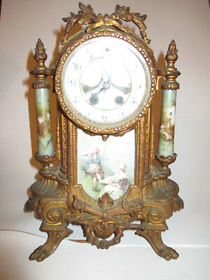 GILBERT antique mantel clock electric ROCOCO style Porcelain Fittings Ormolu