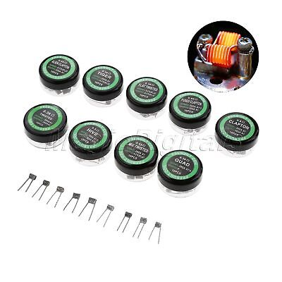 10× Professional Prebuilt Staple Staggered Fused Clapton Coil DIY Tool Hot Sale