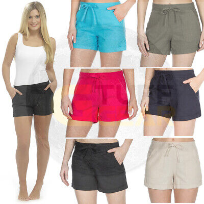 Womens Shorts Linen ladies Summer Beach Casual Size 10 12 14 18 shortie Hot Pant