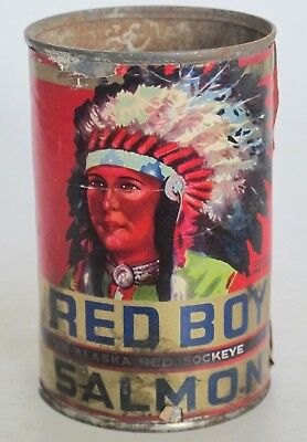 Red Boy Salmon Can...indian Graphics..a Scarce One